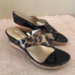 Antonio Melani animal cork patent wedge 2.5 heel